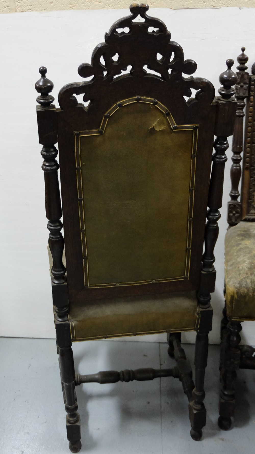 Lot 14 - Matching Set of Five 19thC Jacobean Oak Dining Chairs, heavily carved with pediments and