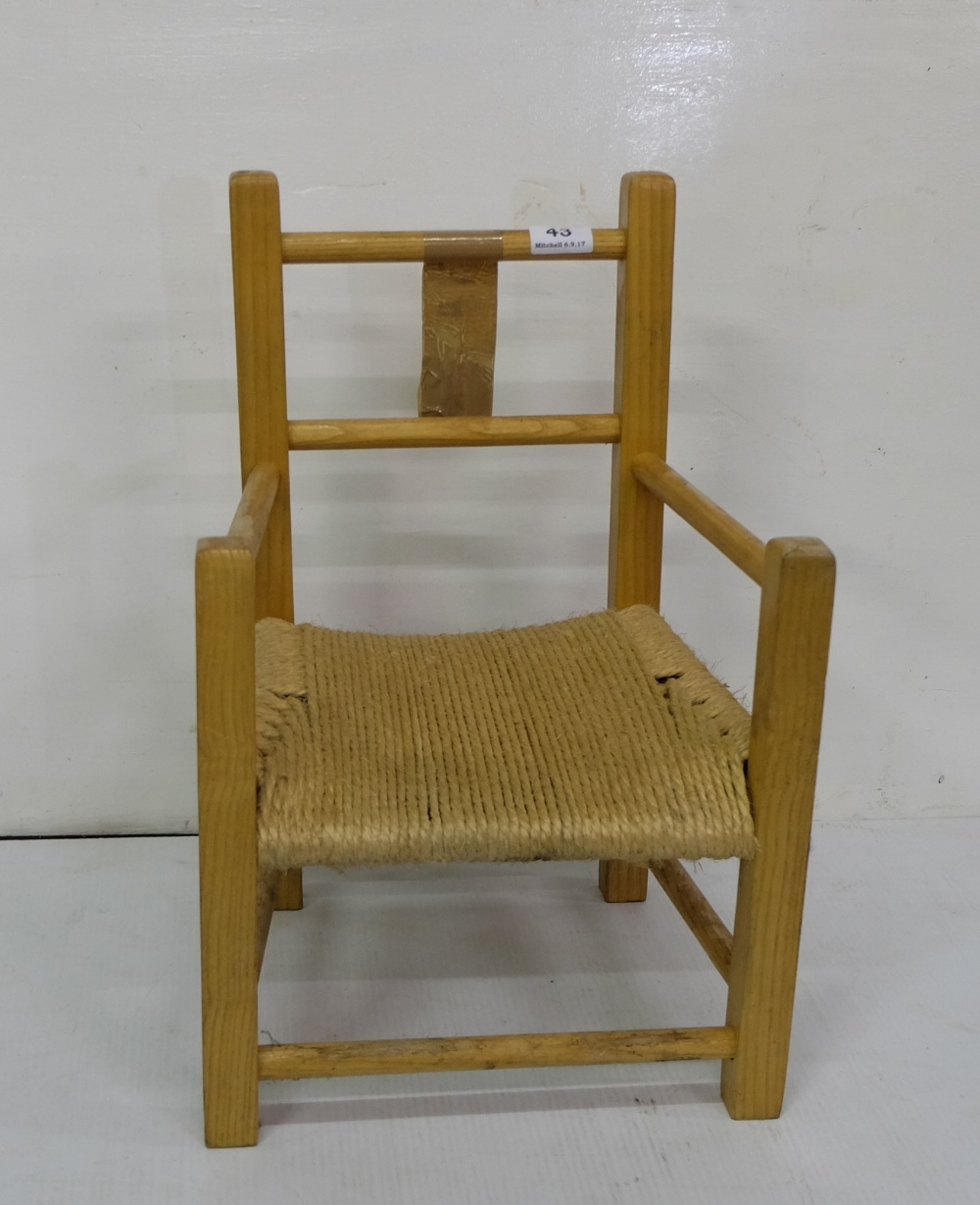 "Lot 43 - Pine Framed Childs Armchair, with rope seat 19""h"
