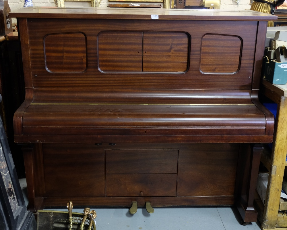 Lot 239 - Weber London Upright Pianola Piano, in a mahogany frame, working, with 28 approx pianola music rolls