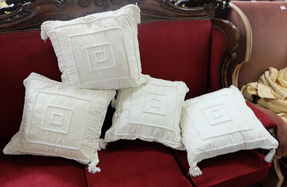 Lot 4 - 4 x ivory raw silk duck feather filled cushions, beaded and tasselled (4)