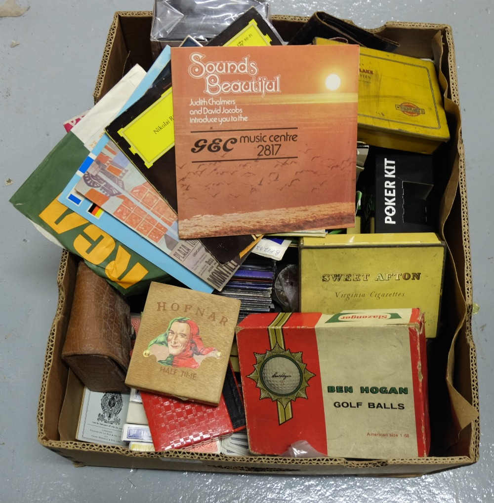 "Lot 605 - Box – 45"" singles, music cd's, tobacco tins, ornaments etc"