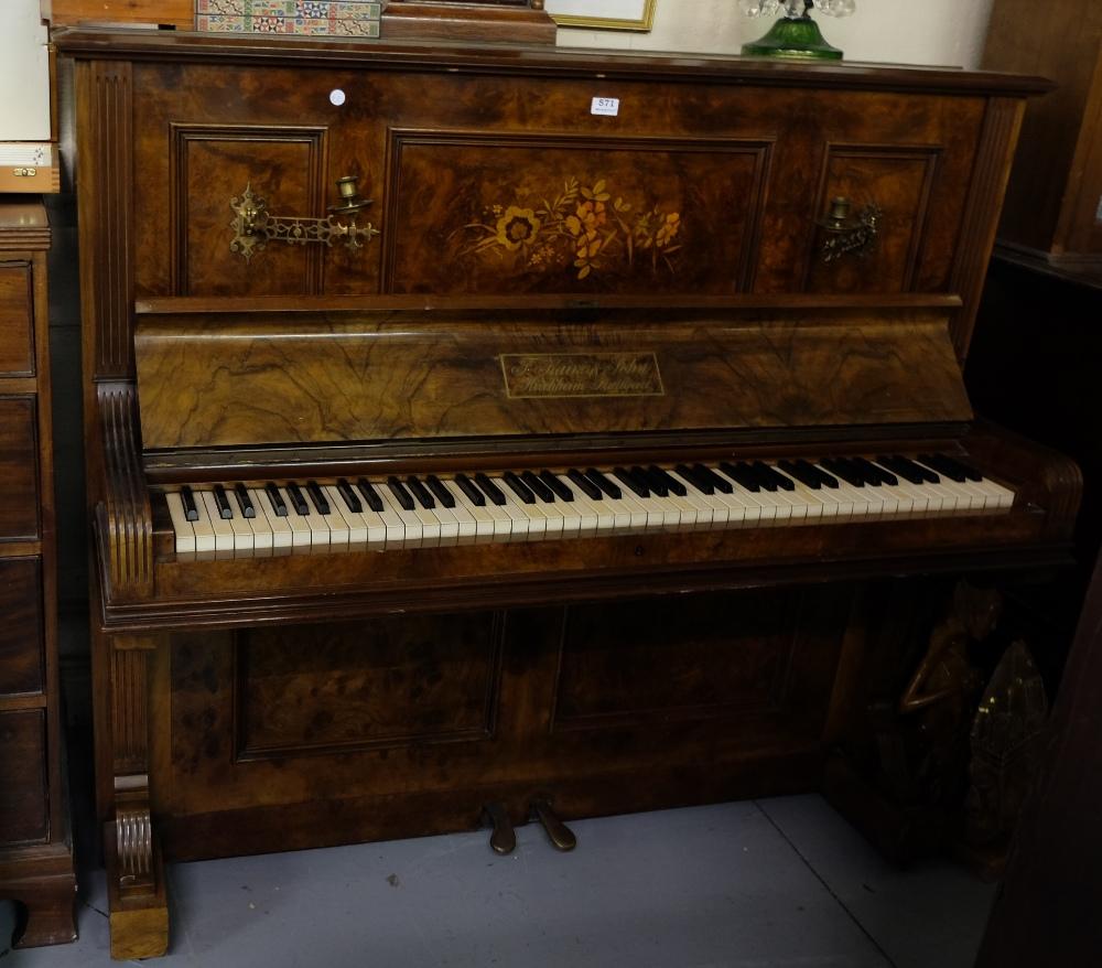 """Lot 571 - Upright Piano in good inlaid Walnut Case, stamped """"F Kaim, John Kircheim, Stuttgart"""","""