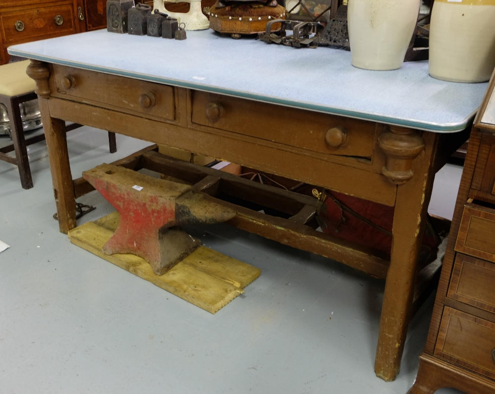 Lot 51 - Irish Antique Pine Kitchen Table, with two apron drawers and stretcher legs, formica top, 5ft l x