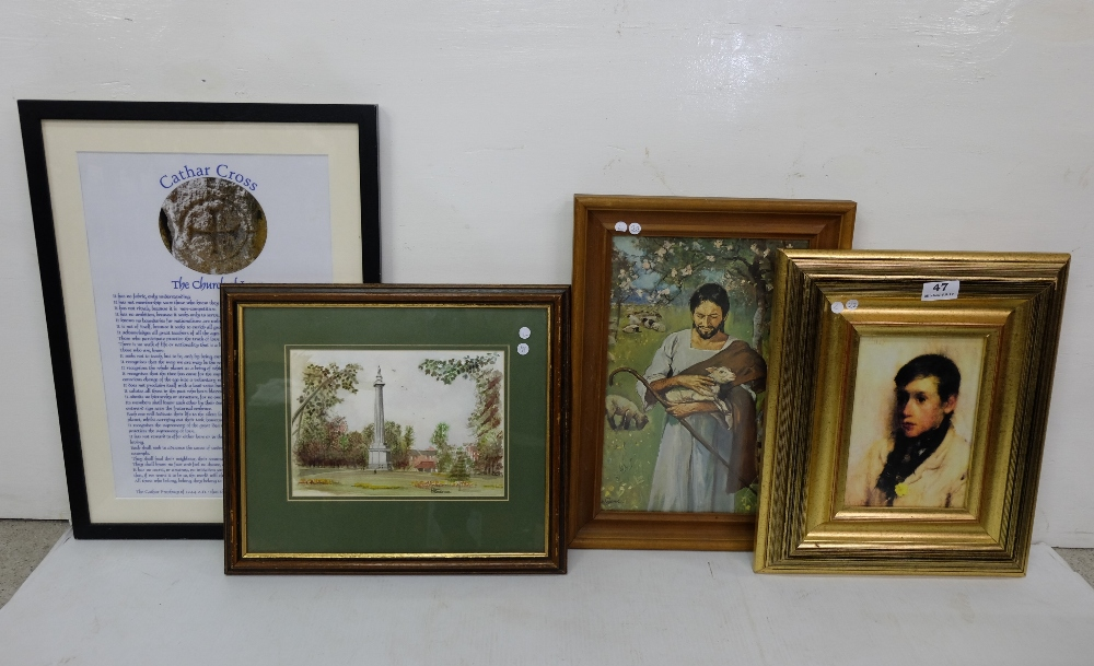 Lot 47 - 6 Pictures – 2 print - young boy with a yellow flower, after Osbourne, Biblical shepherd carrying