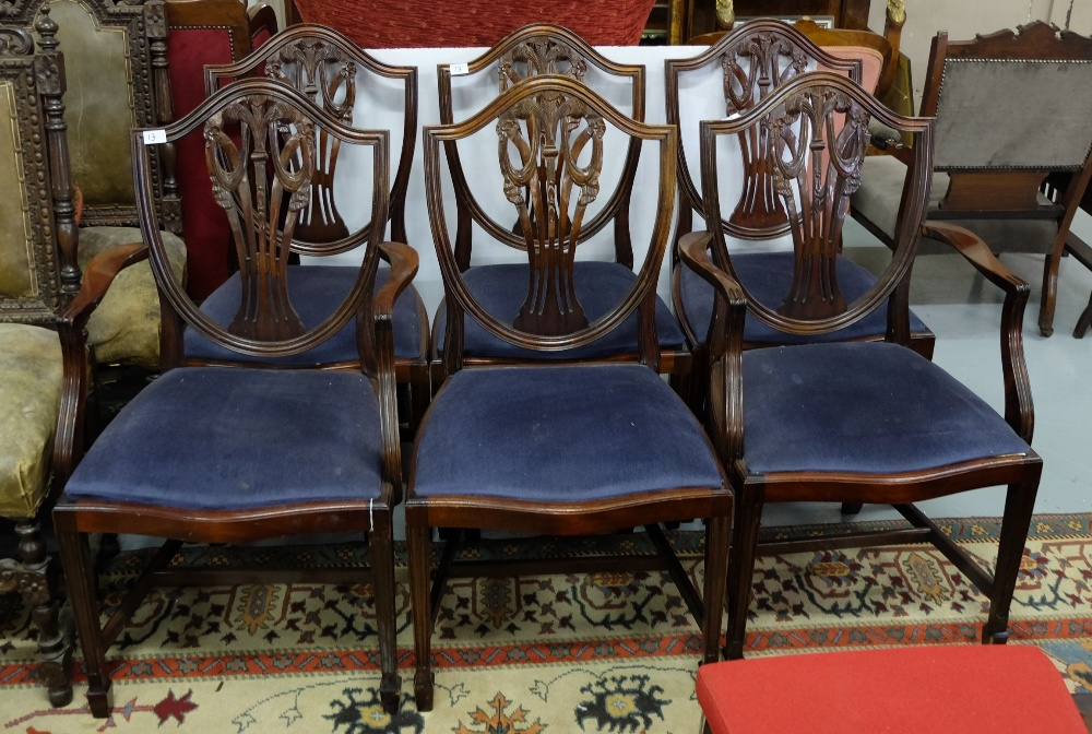 Lot 13 - Matching Set of 6 Regency Reproduction Dining Chairs (incl. 2 carvers) on tapered legs, drop in