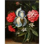 Flämischer Meister des 17. JahrhundertsIris, Rose, Nelken und Zitruszweig in einer Glasvase<