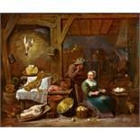 David Teniers d. J.Ländliche Küche mit Stillleben und einem Paar