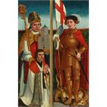 Oberrheinischer Meister um 1500Zwei Flügel eines Altares: Heiliger Bischof mit Kirche und St