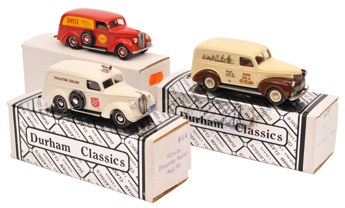 Lot 58 - 3 Durham Classics white metal models. 1941 Chevrolet Panel Delivery van (DC12A) in 'CCM Joycycles'