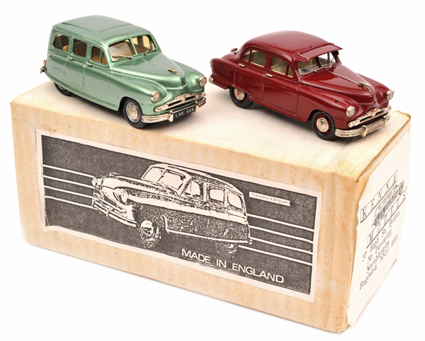 Lot 59 - 2 Kenna white metal models. Standard Vanguard Estate in light metallic green, with light brown