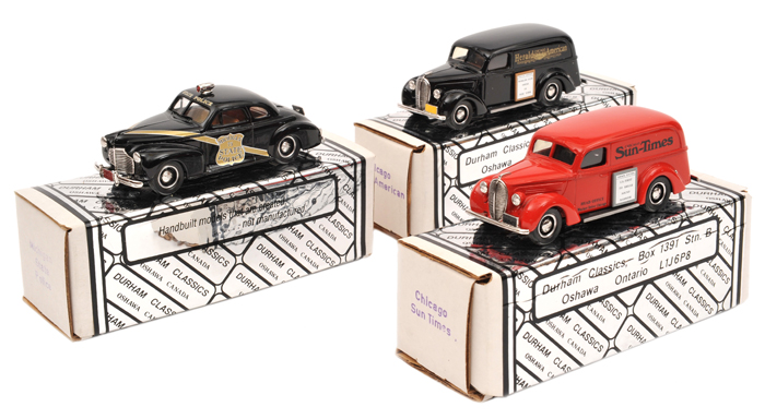 Lot 57 - 3 Durham Classics white metal models.  A 1941 Chevrolet Deluxe Coupe in black 'Michigan State
