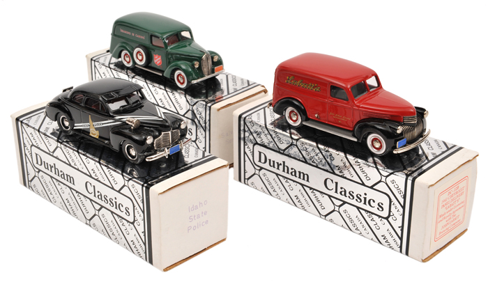 Lot 56 - 3 Durham Classics white metal models.  1941 Chevrolet Panel Delivery van (DC12B) 'Labatt's' in red
