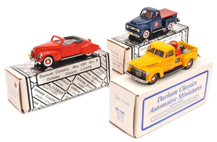 Lot 54 - 3 Durham Classics white metal models.  A 1938 Lincoln Zephyr – Top Down in bright red (DC9B). A 1953