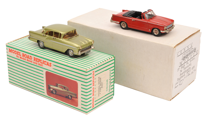 Lot 60 - 2 white metal models. A Model Road Replicas Vauxhall Victor F Type Saloon in light metallic green