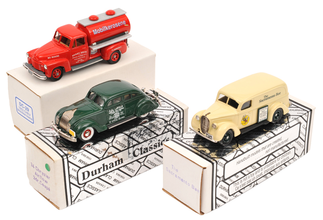 Lot 55 - 3 Durham Classics white metal models.  1934 Chrysler Airflow 2-door coupe in dark green 'AAA -
