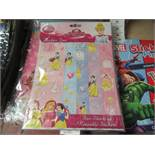 12 x Disney princess Sticker Fun Books with 5 Sheets of Reusable Stickers in each Book. New &