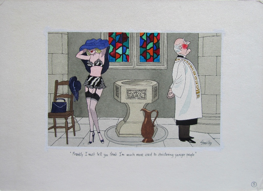 Lot 7 - Smilby, Francis Wilford-Smith seven cartoon artworks possibly for Pardon Magazin Germany