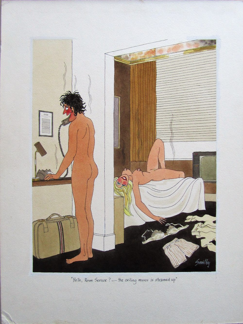 Lot 57 - Smilby, Francis Wilford-Smith 'Hello, Room Service? - the ceiling mirror is steamed up'