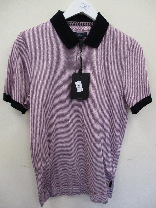 Lot 26 - Ted Baker polo shirt - purple stripe - XL RRP £69