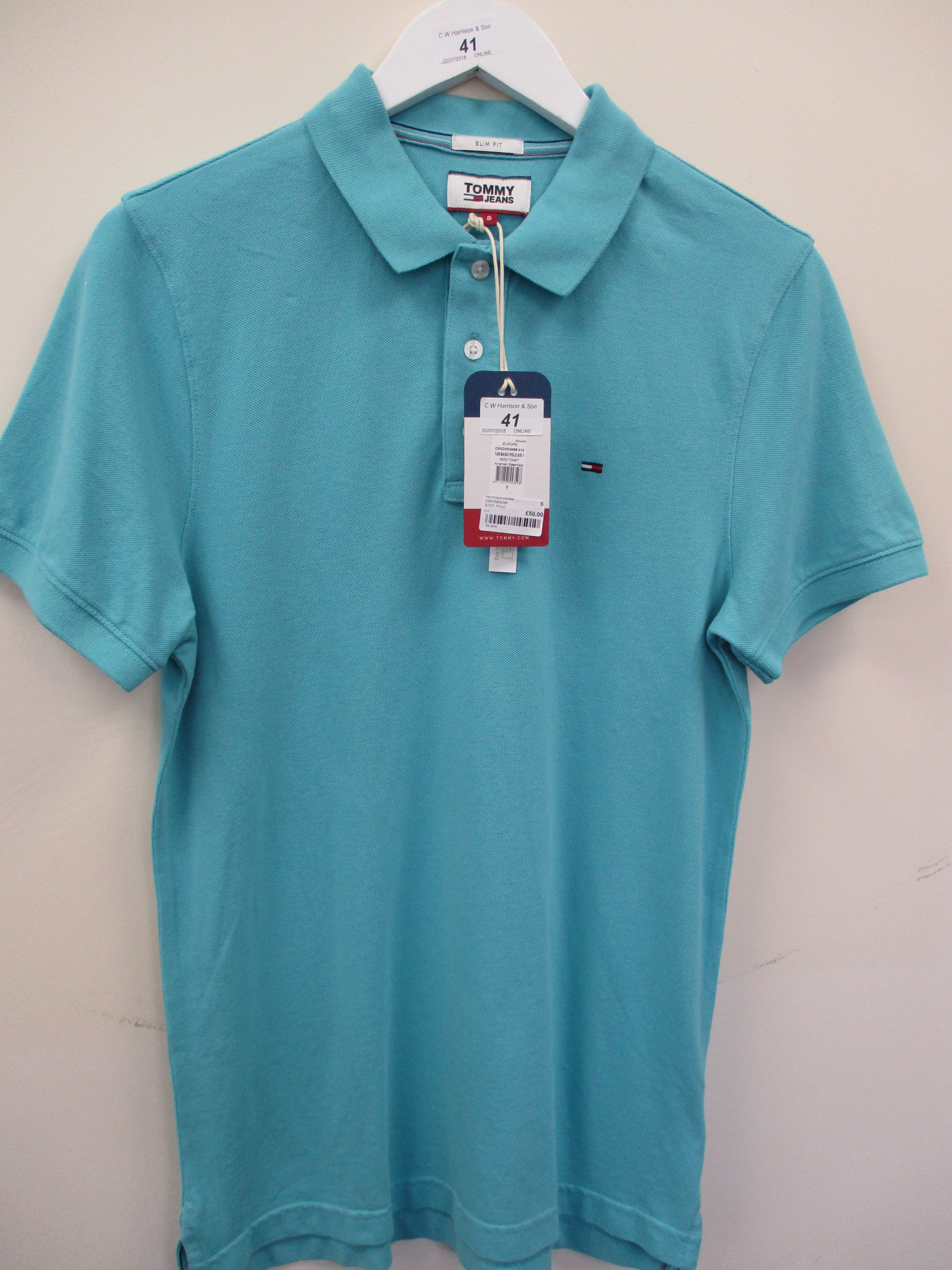 Lot 41 - Tommy Jeans by Tommy Hilfiger polo shirt - pale blue - small RRP £50