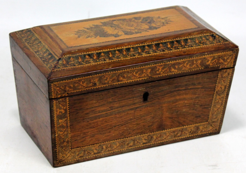 Lot 41 - A Tunbridge ware two division tea caddy of rectangular form, width 20.5cm.Additional InformationSome