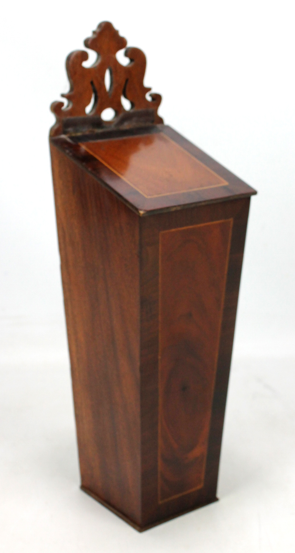 Lot 43 - A mahogany and inlaid candle box with hinged lid and carved back plate, height 42.5cm. Additional