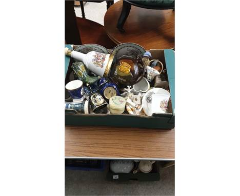 Box Of Collectables To Include Decanter, Crested Candlesticks Trinket Boxes ect