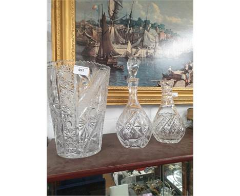 Large Crystal Vase 26CM Tall Crystal Decanter with Stopper And Crystal Water Jug