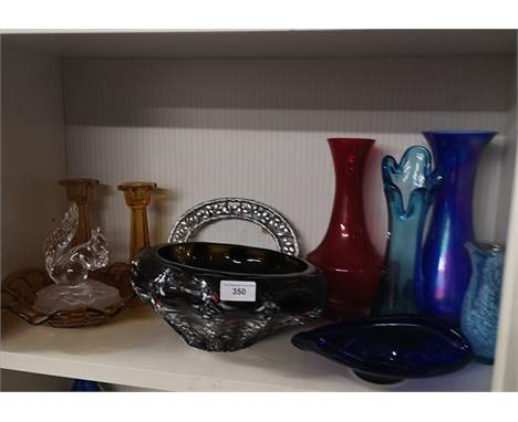 Shelf of art glass includes large murano style bowl.