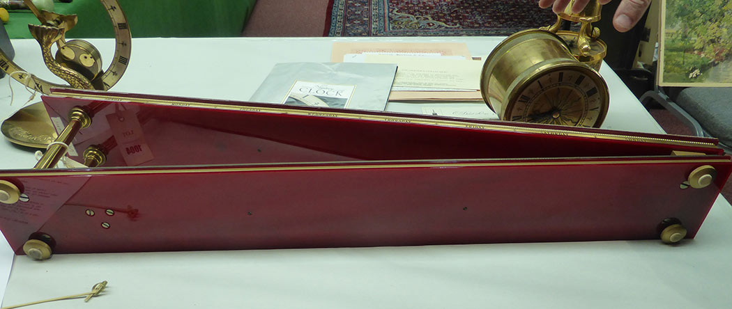 Lot 1004 - Dent, London: an inclined plain clock, the lacquered brass drum timepiece marked to reverse 'Dent,
