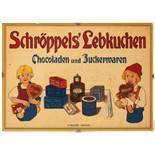 Werbeschild, Schröppel's LebkuchenPolychrome Lithographie auf gelatineartiger Folie. Unter Glas ger.