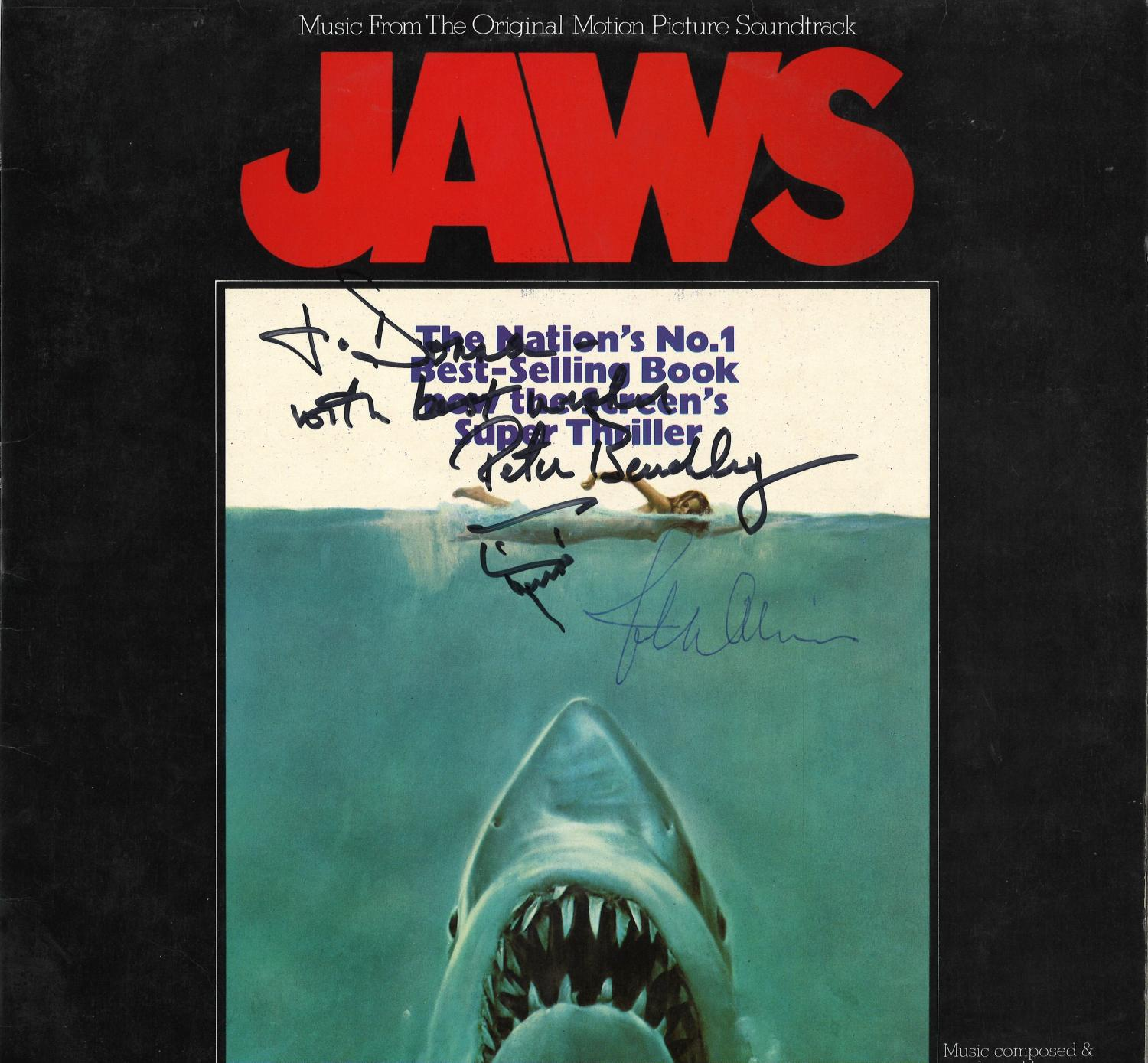 Lot 29 - Jaws album picture sleeve signed by John Williams and Peter Benchley. Vinyl record included. .