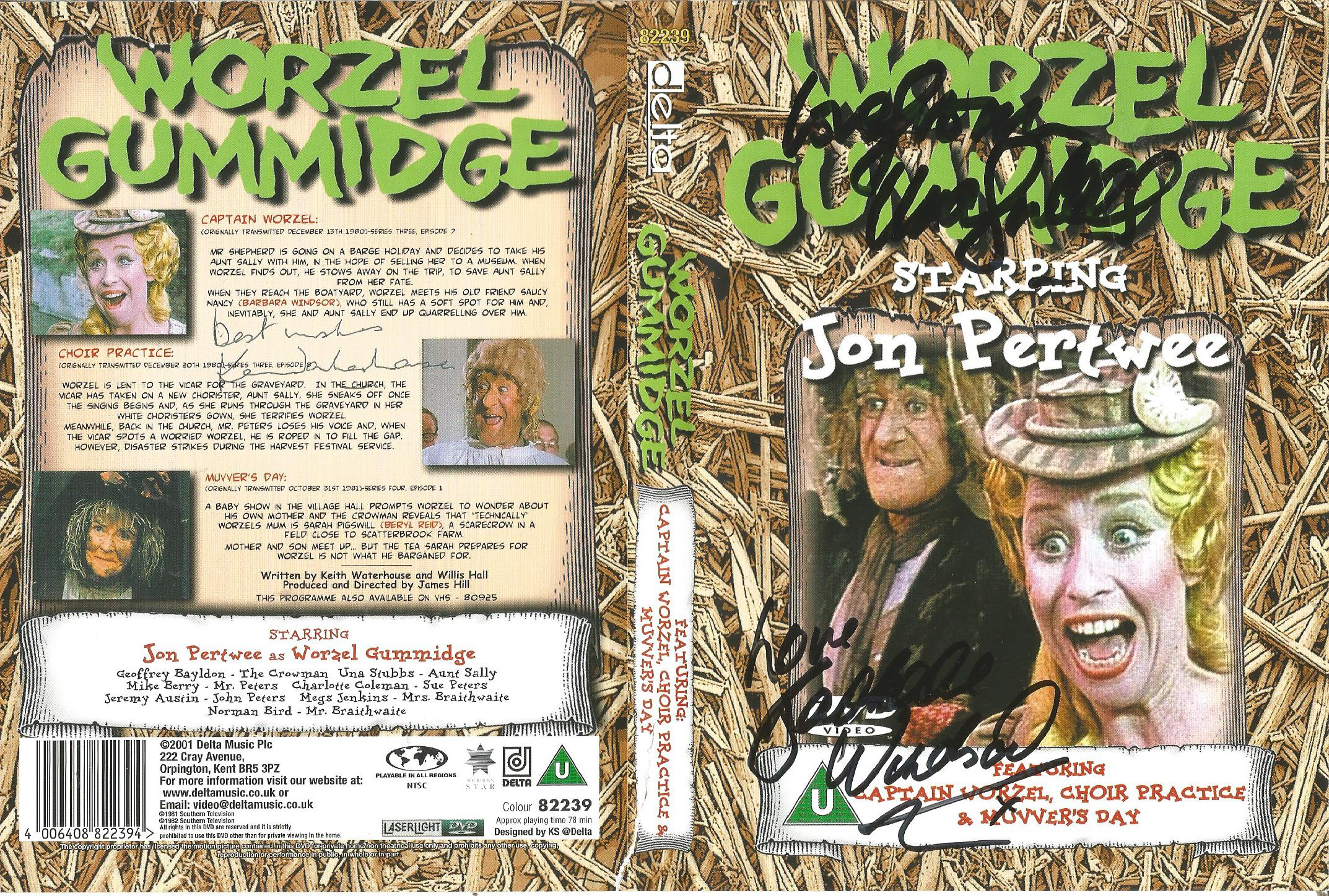 Lot 57 - Una Stubbs and 2 others signed Worzel Gummidge DVD slip case. DVD included. Good Condition. All