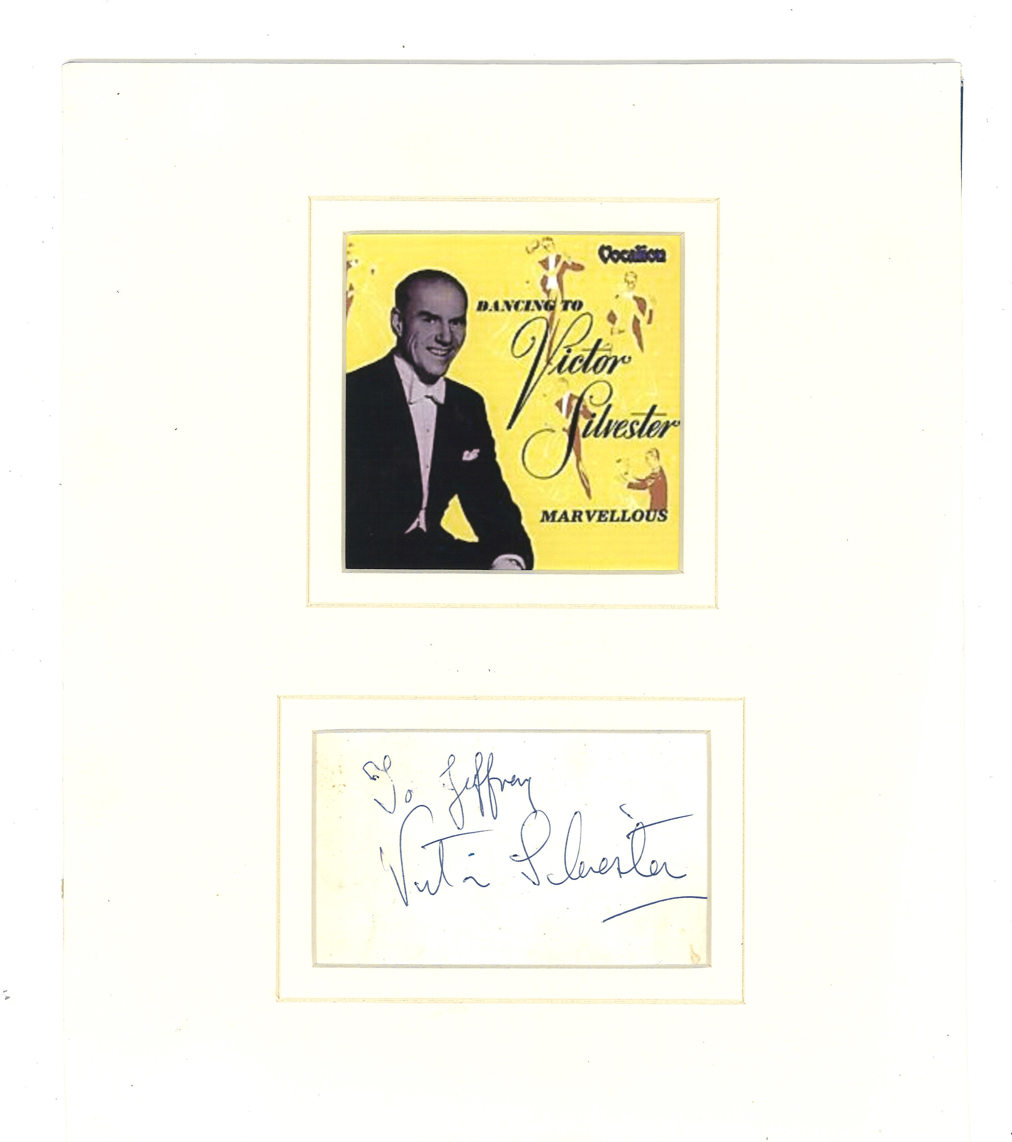 Lot 101 - Victor Silvester signature piece mounted below promo photo. (25 February 1900[1] 14 August 1978) was