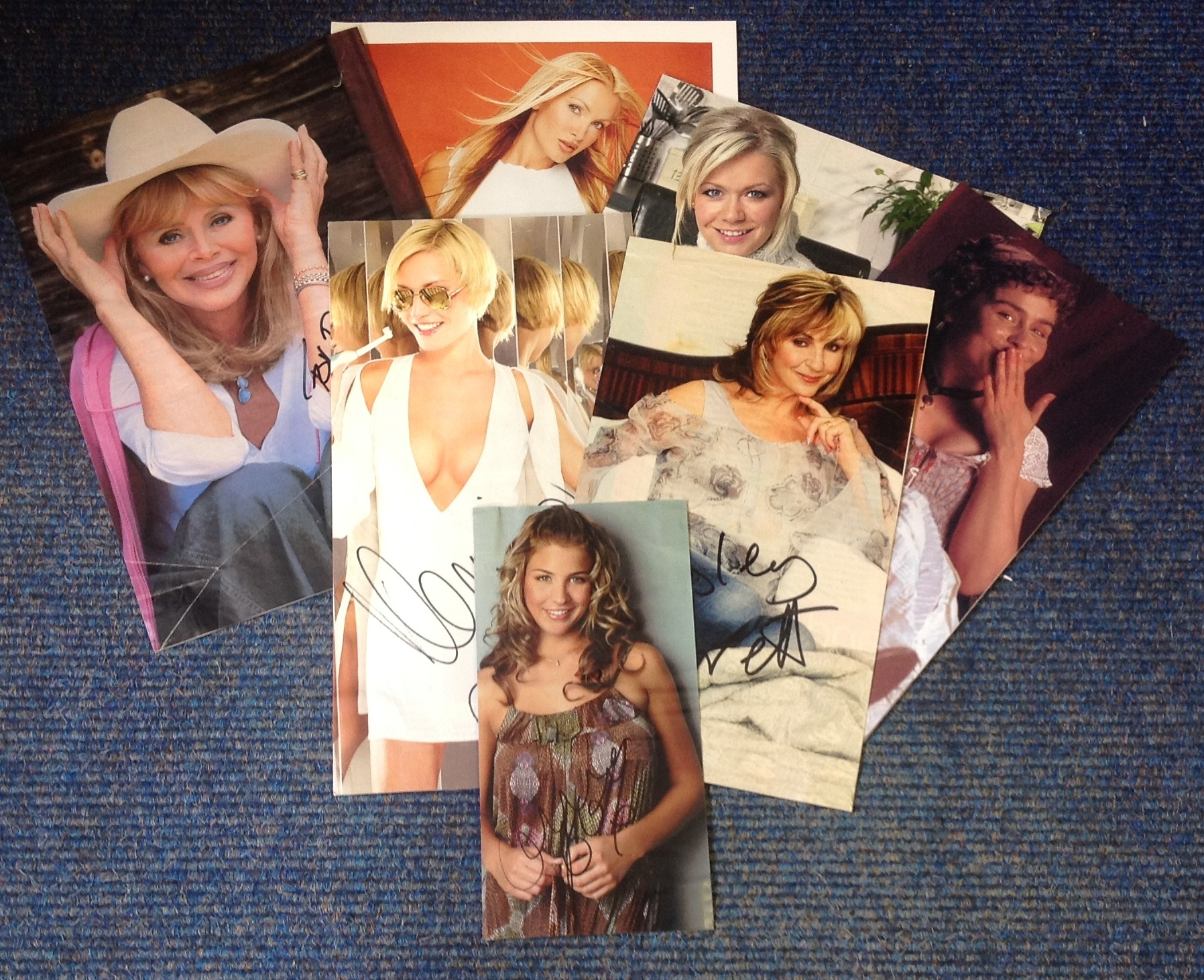 Lot 16 - Female TV signed collection. 7 items mainly magazine/newspaper photos. Signatures include Caprice,
