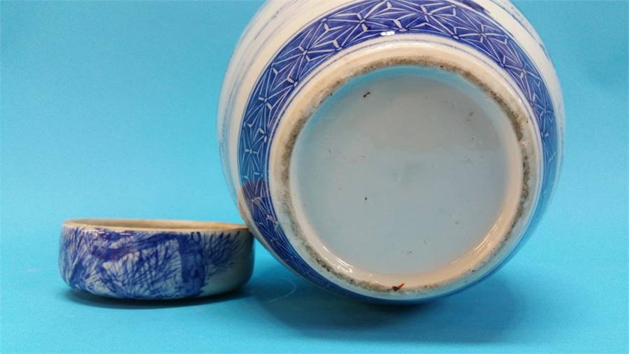 Lot 26 - A Chinese blue and white ginger jar.