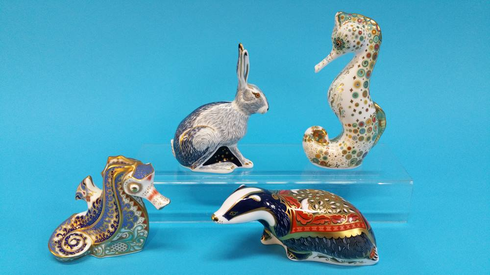 Lot 8 - Four Royal Crown Derby paperweights, two seahorses