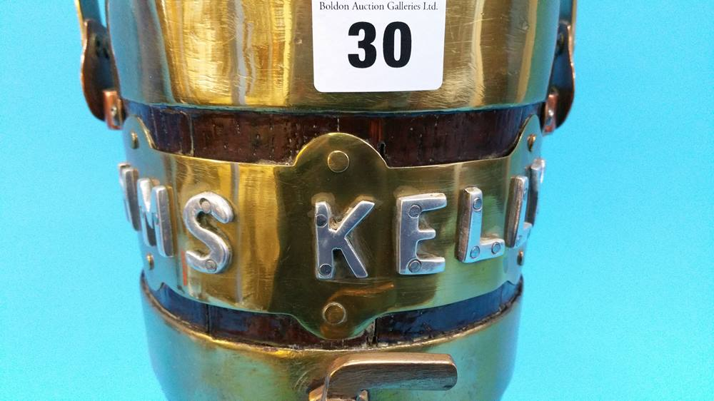 Lot 30 - A brass bound rum decanter 'HMS Kelly'.