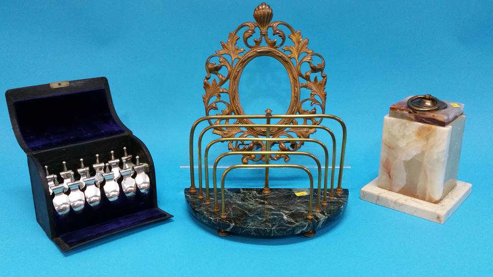 Lot 14 - An onyx plinth, foliate frame, letter rack etc.
