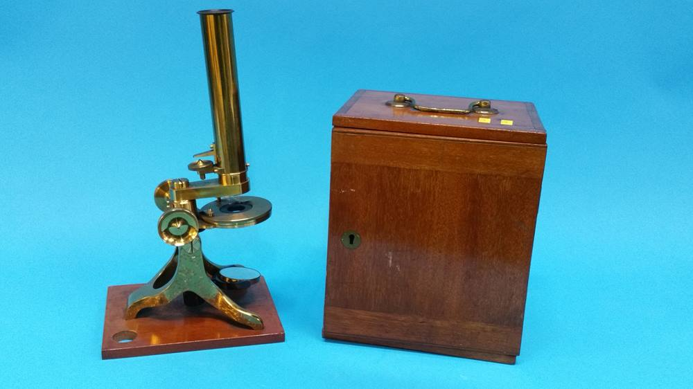 Lot 38 - A mahogany cased travelling brass microscope.