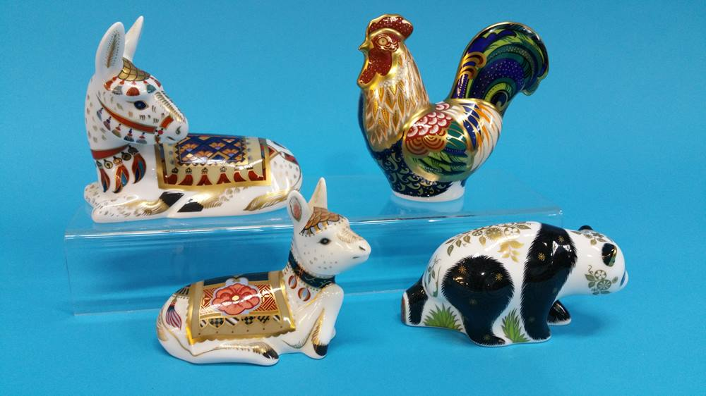Lot 9 - Four Royal Crown Derby paperweights, panda, hen an