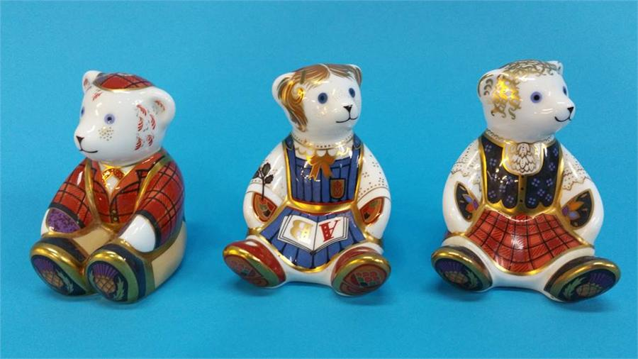 Lot 5 - Three Royal Crown Derby bear paperweights with gol
