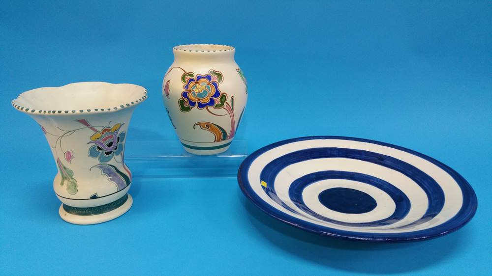 Lot 12 - Two Honiton pottery vases and a pottery bowl with