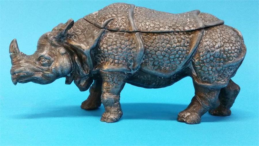 Lot 44 - A metal ware Ink well in the form of Rhinoceros. 2