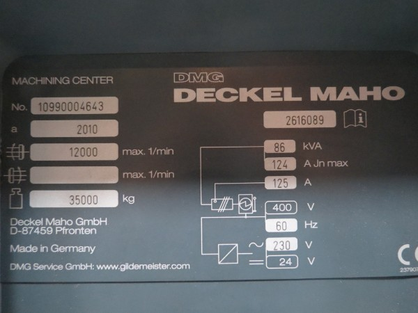 "Lot 57 - DMG DMU200 P 5-Axis Vertical Machining Center, Heidenhain iTNC 530 ctrl, 70.9"" x 78.7"" x 43.3"""