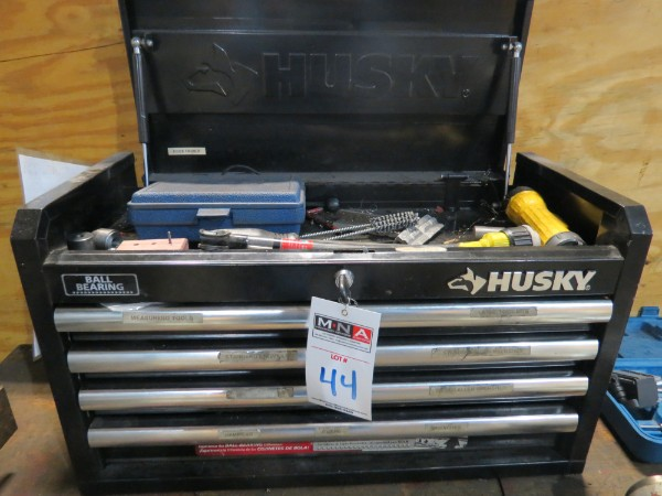 Lot 44 - Husky Toolbox w/ Misc Drills and Hand Tools