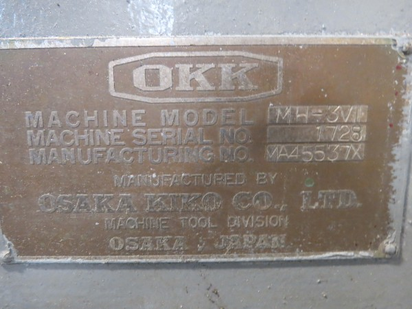 Lot 36 - OKK Mill MH-3VII 15x65 Table S/N 1728