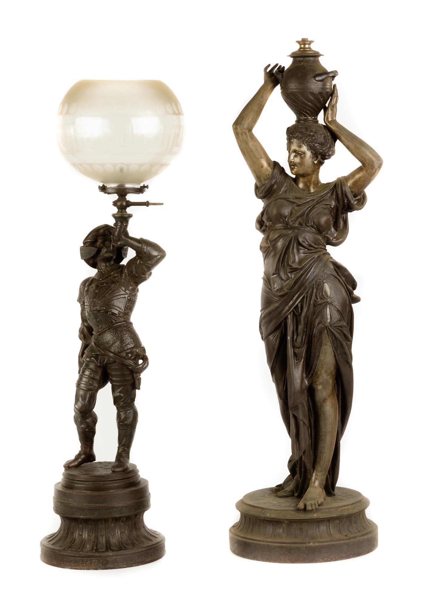 Lot 206 - Figural Patinaed Metal Newel Post Lamp. Medium size Cavalier gas newel post lamp Attributed to