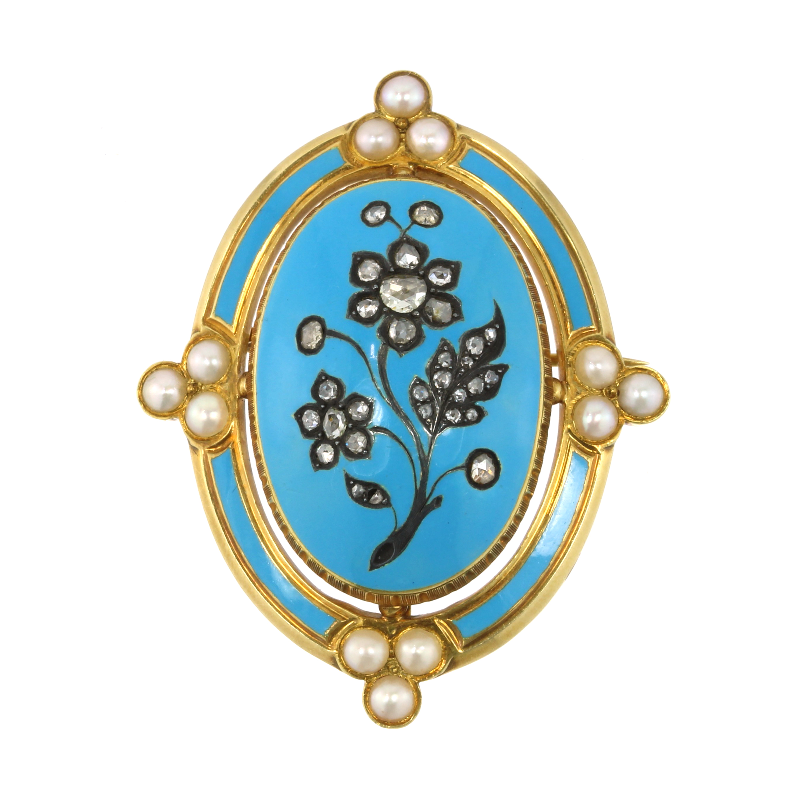 Los 20 - A DIAMOND AND PEARL FORGET-ME-NOT BROOCH, CIRCA 1870 designed as a large oval panel decorated with