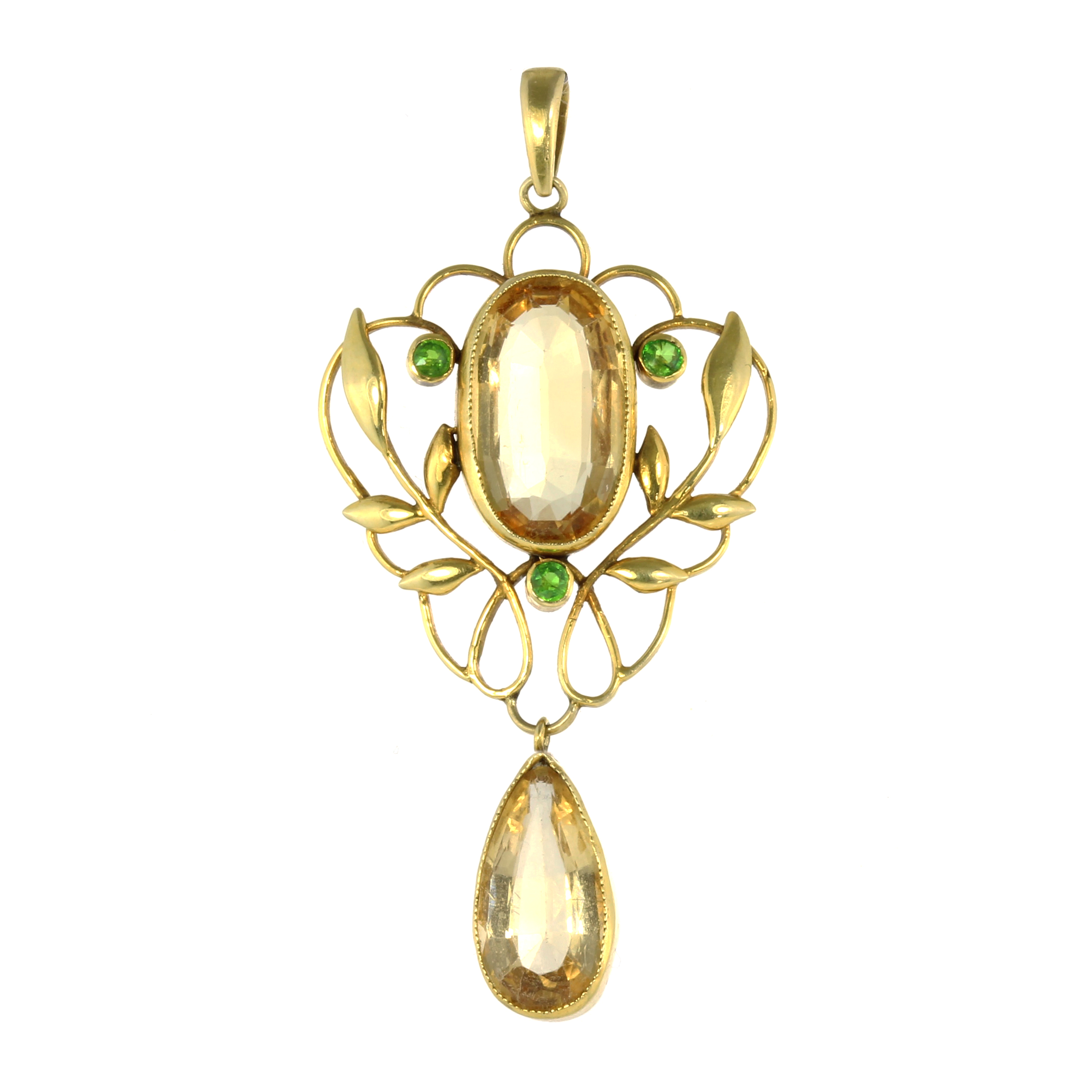 Los 28 - AN ART NOUVEAU IMPERIAL TOPAZ AND DEMANTOID GARNET PENDANT set with a central oval cut topaz of 4.43